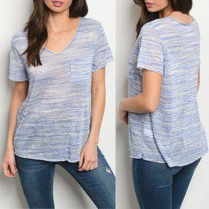 Blue Ivory Short Sleeve Pocket Top {mts}
